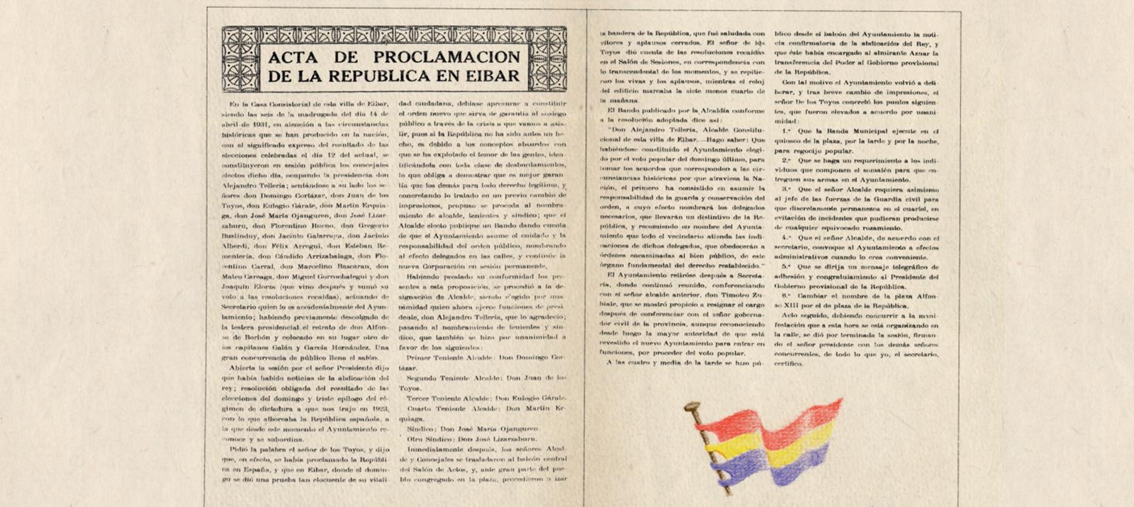 Acta de proclamación de la II. República en Eibar