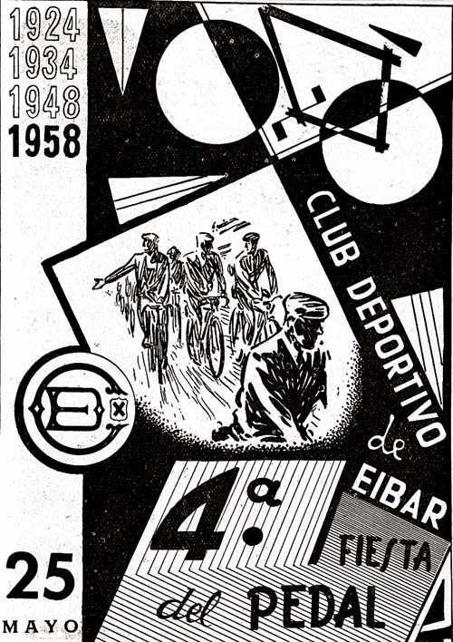 Cartel de la cuarta Fiesta del Pedal, mayo de 1958