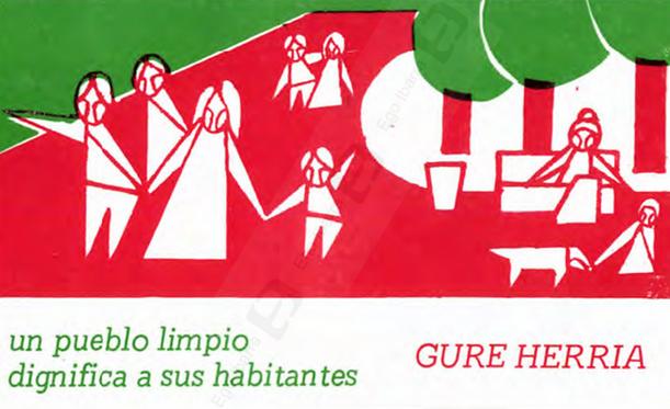 "Gure Herria elkarteak ateratako pegatina, ""Un pueblo limpio"""