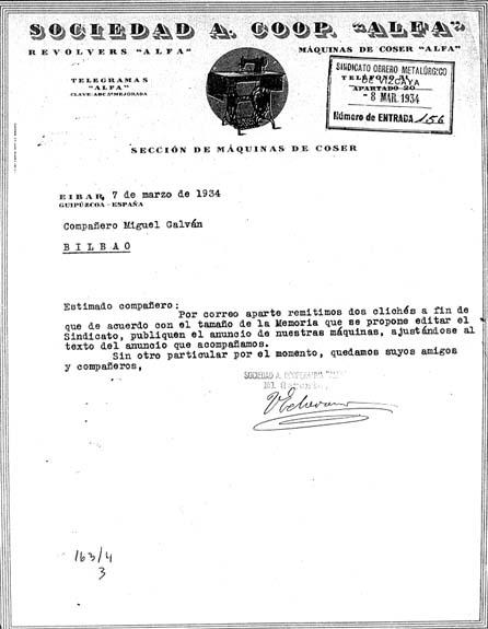 Toribio Etxebarria jerentearen karta, 1934koa
