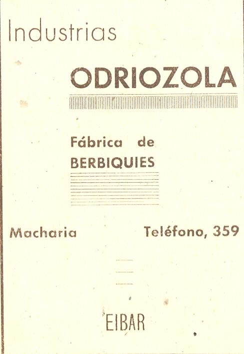59) Industrias Odriozola, Fábrica de berbiquies