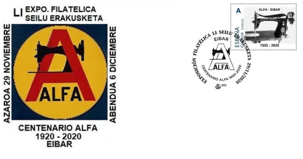 Exfibar 2020, Alfak 100 urte (gutunazala eta zigilua)