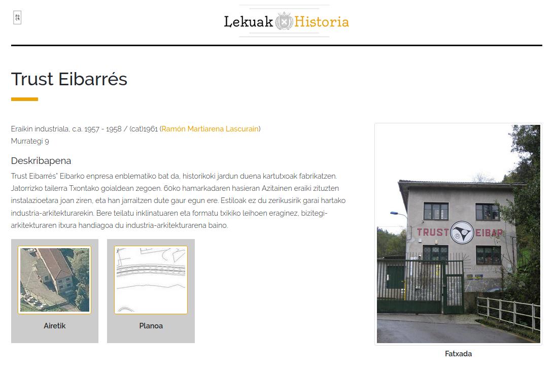 Eibarko ondare historikoaren aplikazioa - Trust Eibarres fitxa