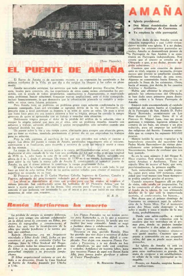 Puente de Amaña, Revista Eibar 1966, Hermenegildo Bracons